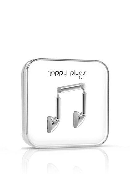 Căști Happy Plugs argintii