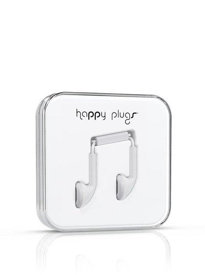 Biele Earbud slúchadlá Happy Plugs