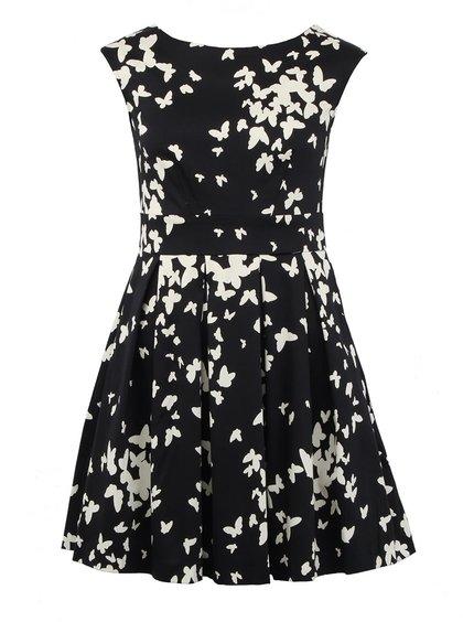 Černé šaty s motýly Closet Waisted Pleat