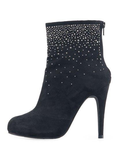 Černé kotníkové boty s kamínky Victoria Delef