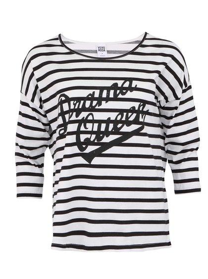 Tricou negru cu dungi albe Vero Moda Queen