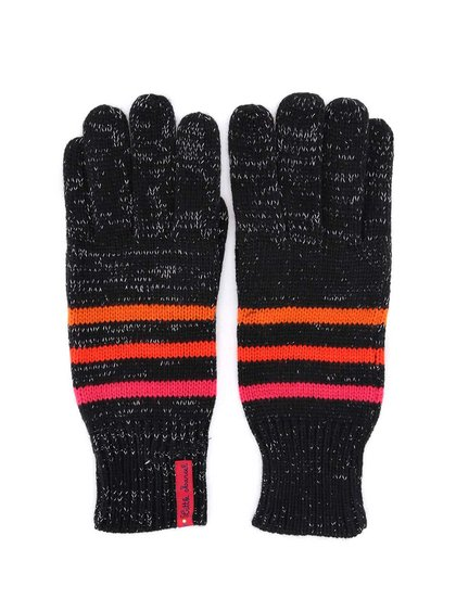Černé pruhované rukavice protkané stříbrnou nití Little Marcel Gepinao