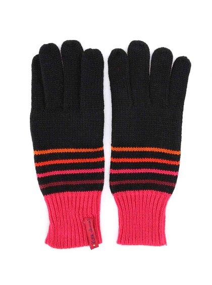 Čierne pruhované rukavice s ružovým lemom Little Marcel Galio