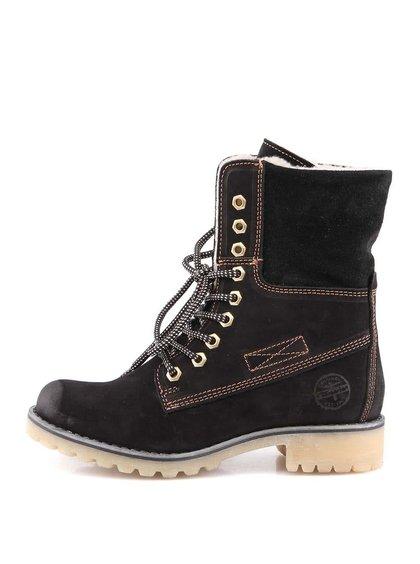 Černé zimní kožené boty s kožíškem Tamaris