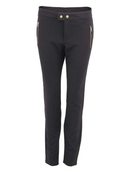 Černé kalhoty s knoflíky ve zlaté barvě VERO MODA Sweety