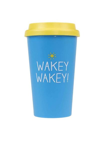 Modrý cestovní hrnek Happy Jackson Wakey Wakey