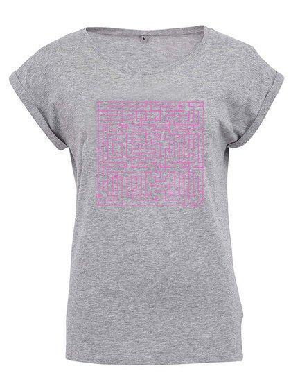 """""""Dobré"""" sivé dámske tričko s bludiskom Cesta domov"""