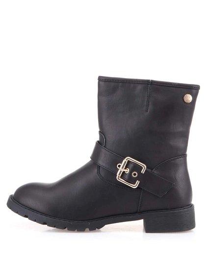 Černé kotníkové boty s ozdobnou přezkou Xti