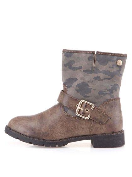 Hnědé kotníkové boty s maskáčovým vzorem Xti