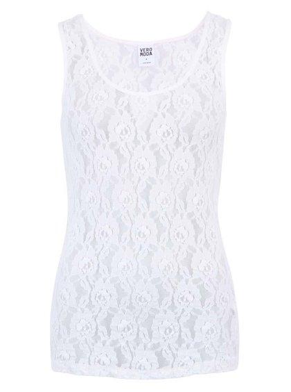 Biele dámske čipkované tielko Vero Moda Lilly