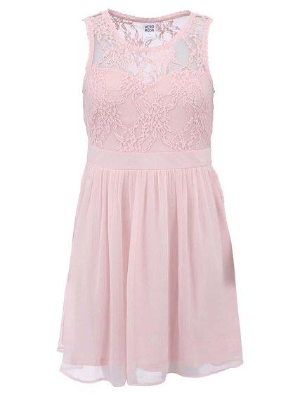Ružové šaty s čipkou VERO MODA Neja