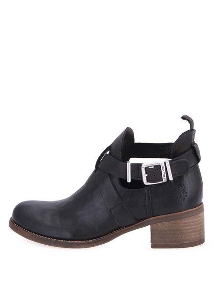 Čierne kožené členkové topánky U.S. Polo Assn. Leona