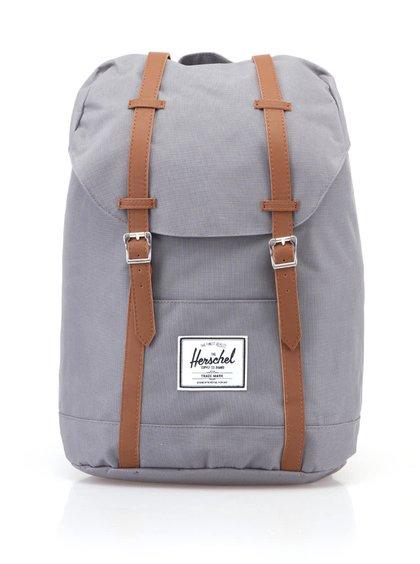 Sivý veľký batoh s hnedými popruhmi Herschel Retreat 19,5 l