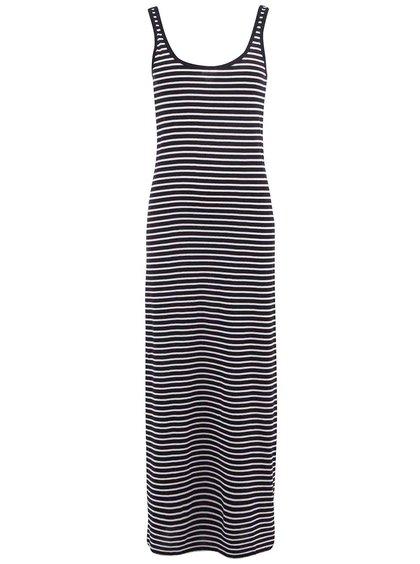 Čierne dlhé šaty s bielymi pruhmi Vero Moda Nanna