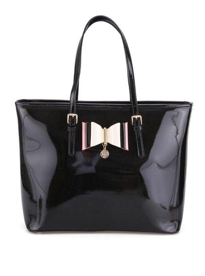 Čierna lesklá kabelka s ozdobnou mašľou LYDC