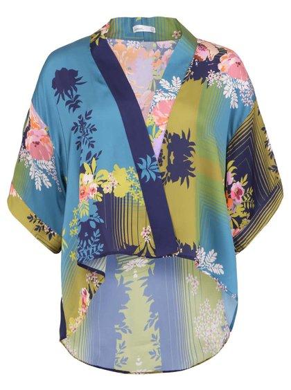 Modré dámské kimono s květovaným potiskem Lavand