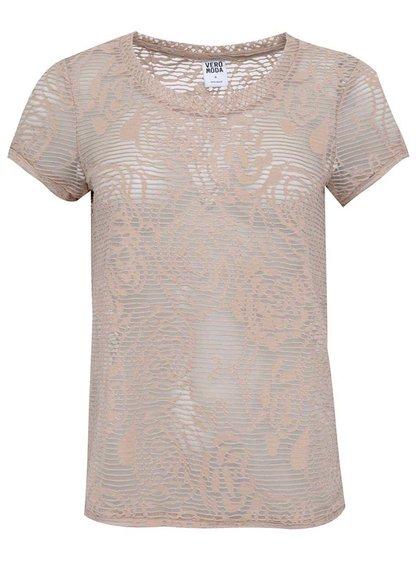 Bluză bej transparentă Vero Moda Glow