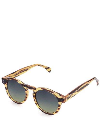 Hnědo-žluté kulaté sluneční unisex brýle Komono Clement