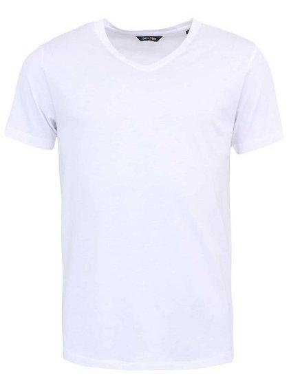 Bílé triko s véčkovým výstřihem ONLY & SONS Pima