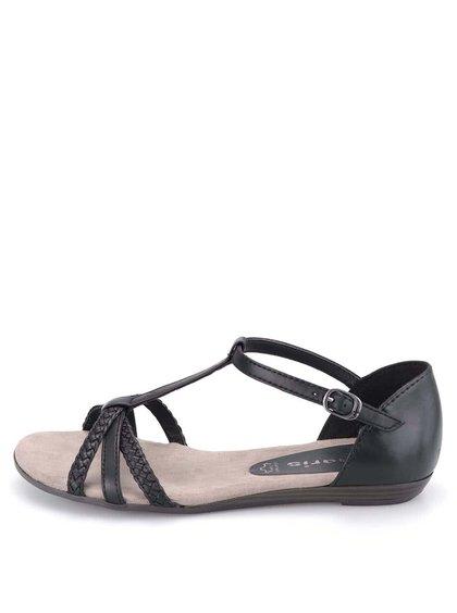 Sandale negre de piele cu barete de la Tamaris