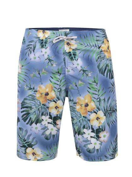 Svetlomodré dlhšie plavky s havajskými kvetmi Blend
