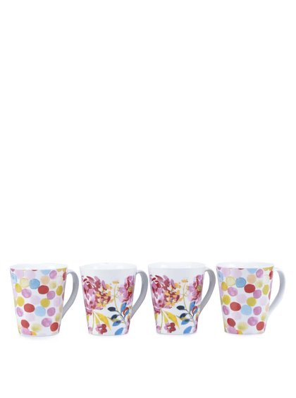 Sada čtyř porcelánových hrníčku s motivem květin Cooksmart Floral Romance