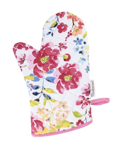 Mânușă de bucătărie Cooksmart Floral Romance albă cu imprimeu