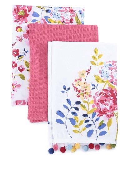 Súprava troch farebných utierok s motívom kvetín Cooksmart Floral Romance