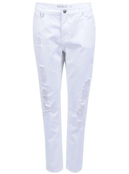 Pantaloni albi ONLY Solid trei sferturi și cu rupturi