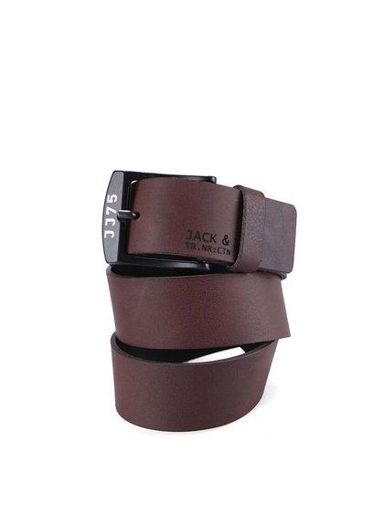 Tmavě hnědý kožený pásek Jack & Jones Alvin