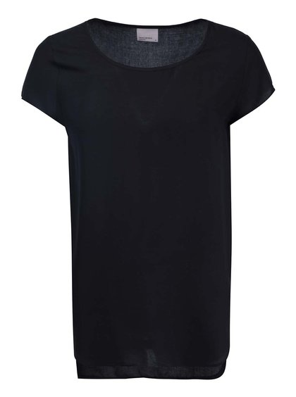 Tricou negru cu spate mai lung VERO MODA Boca