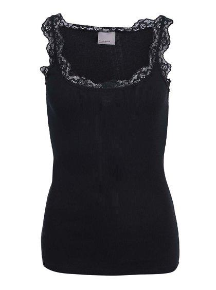 Maiou Vero Moda Lena cu detalii din dantelă - negru