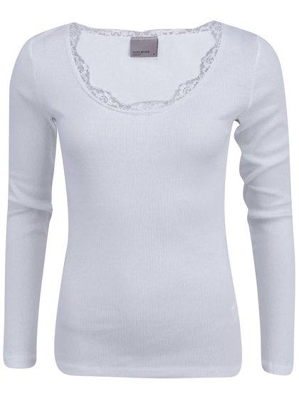 Tricou VERO MODA Lena cu guler din dantelă - alb