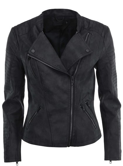 Čierna koženková kratšia bunda ONLY Biker