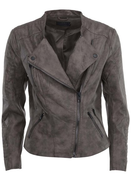 Jachetă scurtă gri Only din piele sintetică