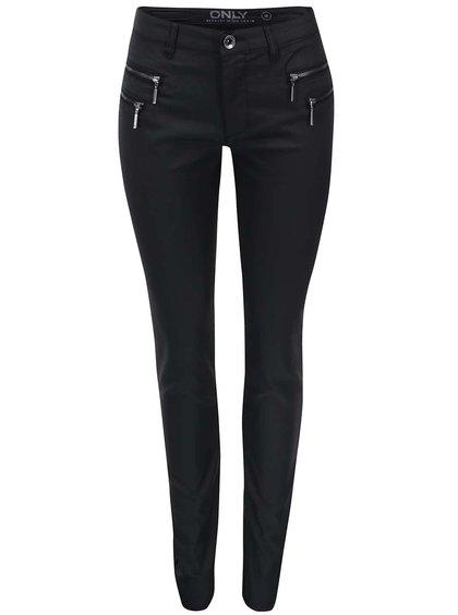 Noii pantaloni ONLY Olivia negri cu fermoare decorative
