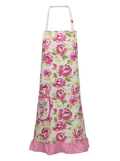 Ružovo-žltá zástera s kvetmi Cooksmart Love to Bake
