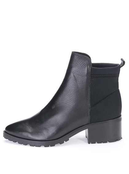 Čierne kožené chelsea topánky Pieces Valah