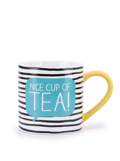 Černo-bílý pruhovaný hrnek Happy Jackson Nice Cup Of Tea
