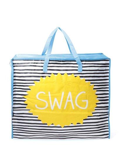 Geantă de cumpărături cu dungi albastre Happy Jackson Swag