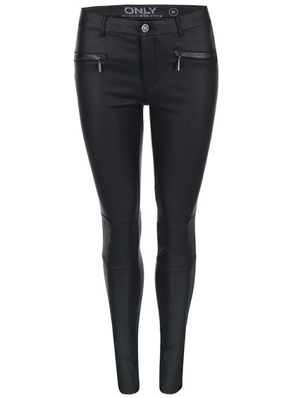 Čierne lesklé nohavice ONLY Natalie