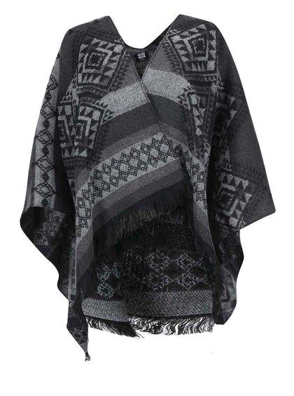 Poncho negru cu imprimeu gri Vero Moda Rilla