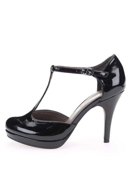 Pantofi cu toc negri lăcuiți Tamaris