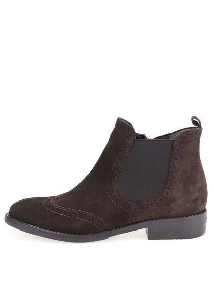 Tmavohnedé kožené členkové brogue topánky Tamaris