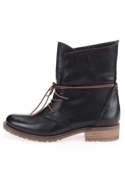 Čierne kožené topánky na šnurovanie Tamaris