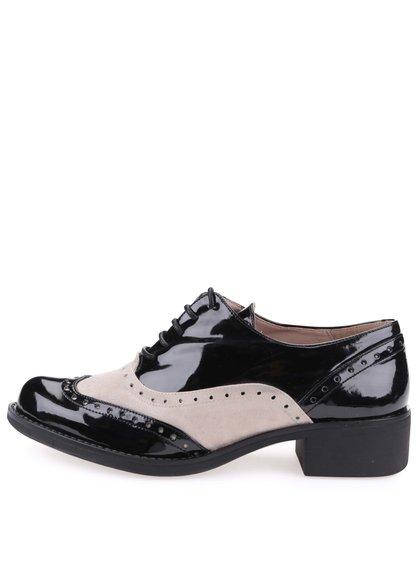 Pantofi oxford bej cu negru aspect lăcuit - OJJU