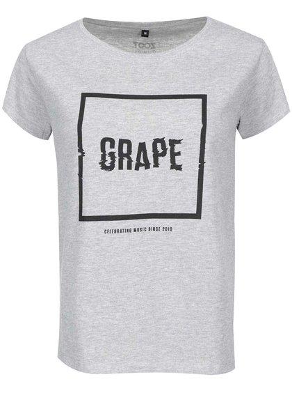 Šedé dámské triko Grape Logo Square