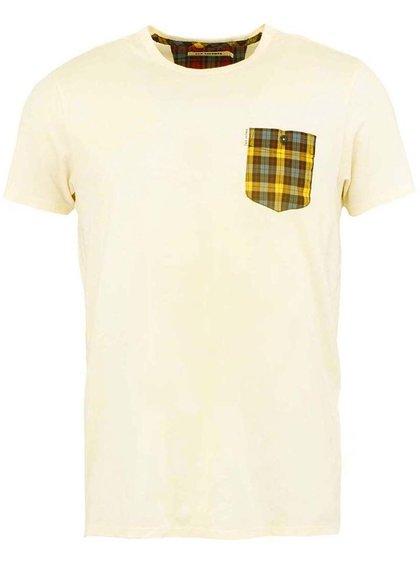 Krémové pánske tričko s vreckom Ben Sherman