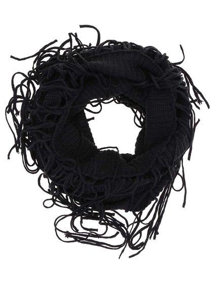 Černá dutá šála s třásněmi Pieces Roxanna