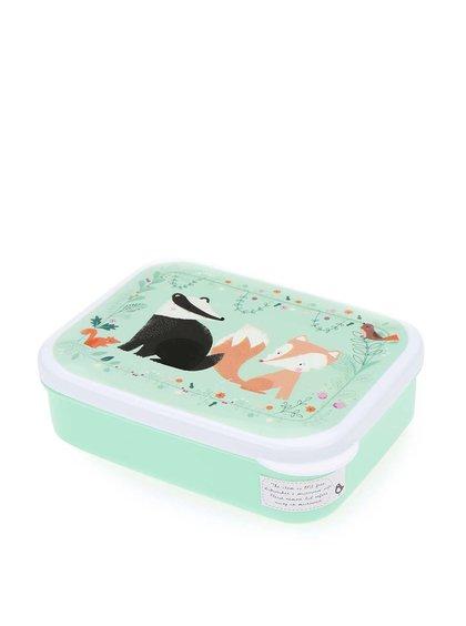 Zelený svačinový box na oběd se zvířátky Sass & Belle Woodland Friends